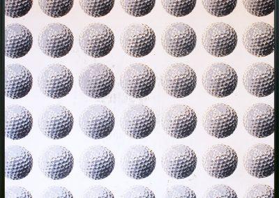 Kunstdruck zeigt 42 Golfbälle