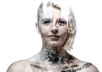 Bildbearbeitung double exposure | Portrait kombiniert mit Menschenmenge | von Andy Mock