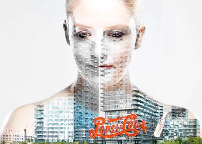 Bildbearbeitung double exposure | Portrait kombiniert mit Blick auf Pepsi-Cola Werbung | von Andy Mock