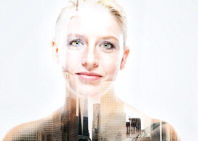 Bildbearbeitung double exposure | Portrait kombiniert mit Blick auf Skyline von New York | von Andy Mock