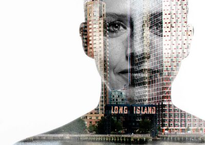 Bildbearbeitung double exposure | Portrait kombiniert mit Blick auf Long Island, New York | von Andy Mock